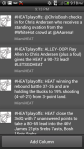 @MiamiHeat's timeline on Twitter, 8:18pm April 21st, 2013. 4th quarter of Round 1 in the NBA Finals.
