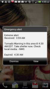 "Tornado Warning ""Siren"" Received Via Cell Phone at 3:59am"