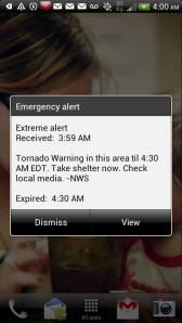 "Tornado Warning ""Siren"" Received Via Cell Phone at 3:59am"